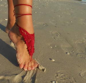 Fine Million Dollar Red Barefoot Sandals