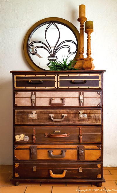 Upcycled Luggage DIY Dresser