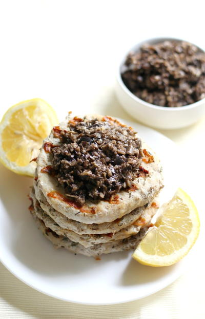 Grilled Chicken Burgers with Black Olive Tapenade