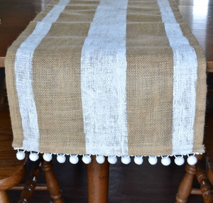 Burlap Table Runner with Pom Poms