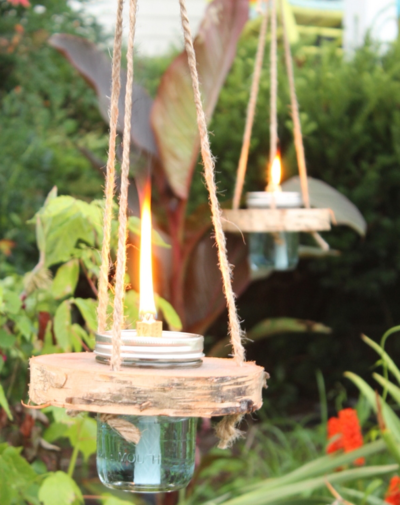 Wood and Mason Jar Tiki Torches