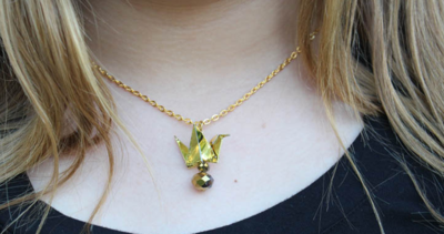 Gold Paper Crane DIY Necklace