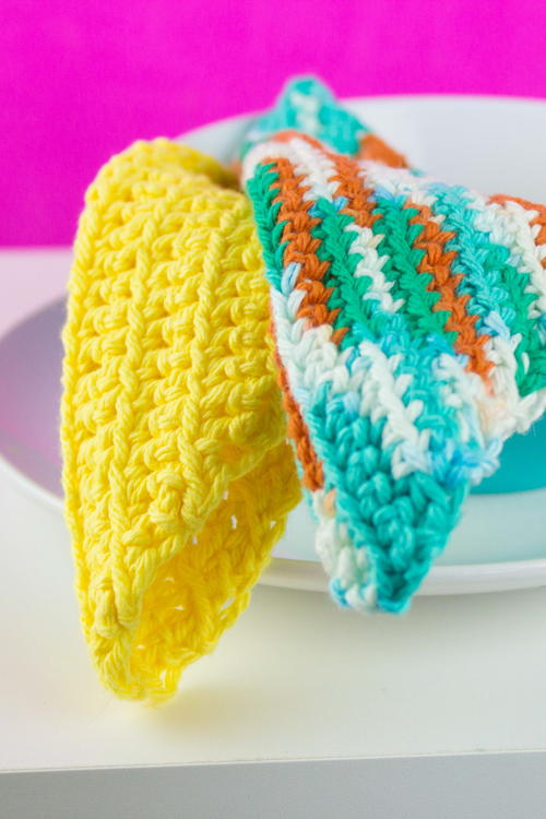 Diagonal Crochet Dishcloth