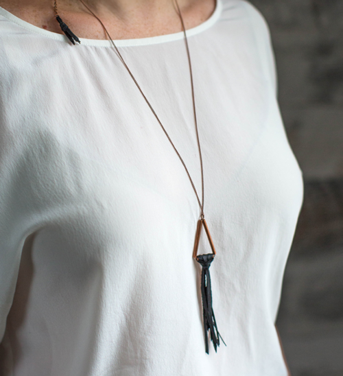 Copper and Leather DIY Tassel Necklace