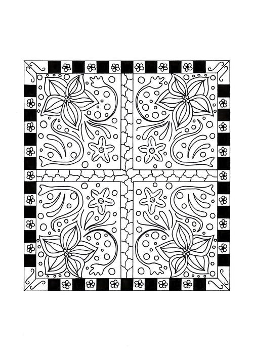 Floral Quilt Coloring Page AllFreeHolidayCraftscom