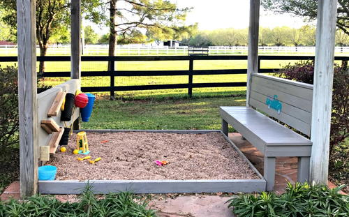 Gravel DIY Play Area and Rustic Bench