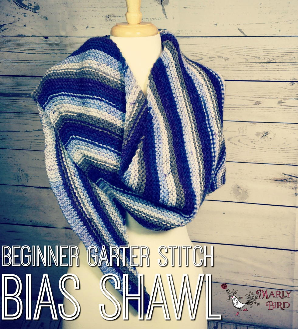 Knitting Patterns For Beginners Garter Stitch : Beginner Garter Stitch Bias Shawl AllFreeKnitting.com