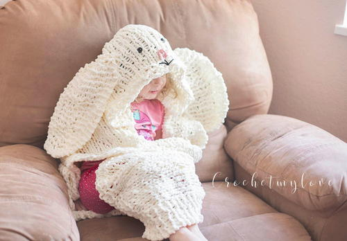 Giant Hooded Bunny Blanket