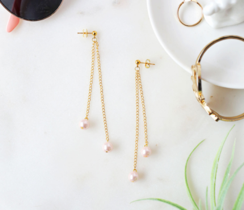 DIY Dangling Pearl Earrings