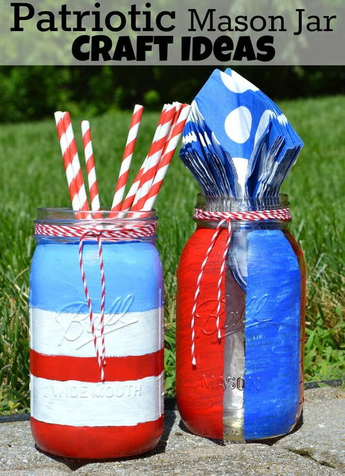 Patriotic Mason Jar Craft Ideas