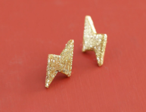 Gold Thunderbolt DIY Earrings
