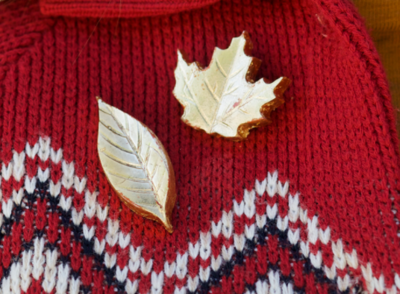 Fall Themed Gold Brooches