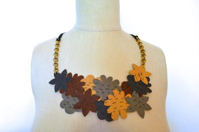 Easy Faux Leather Floral DIY Statement Necklace