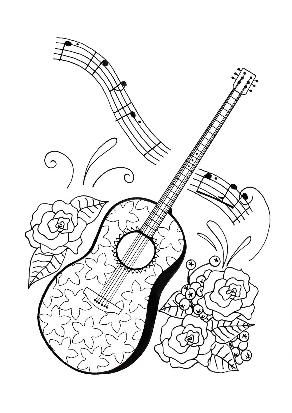 For the love of music adult coloring page for Coloring pages of music