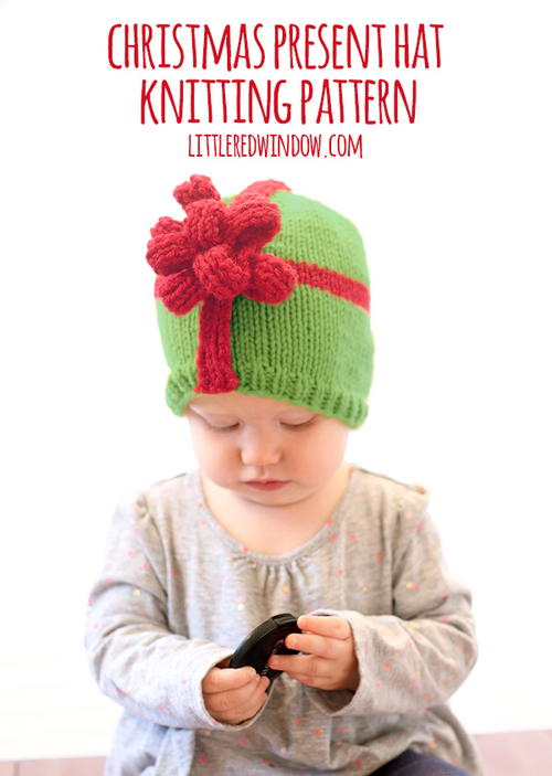 Christmas Present Bow Hat Knitting Pattern