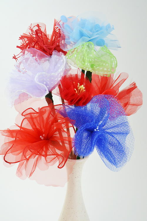 Simple Upcycled Tulle Flowers