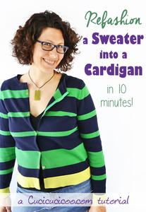 10 Minute Cardigan Sweater Refashion
