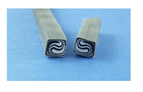 Black and White Swirl Polymer Clay Cane
