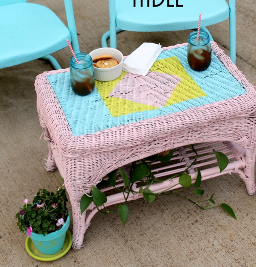DIY Painted Wicker Table
