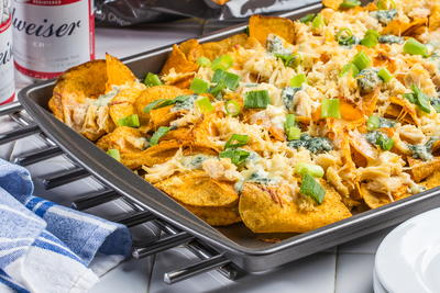 Barbecue Chicken Nachos with Blue Cheese