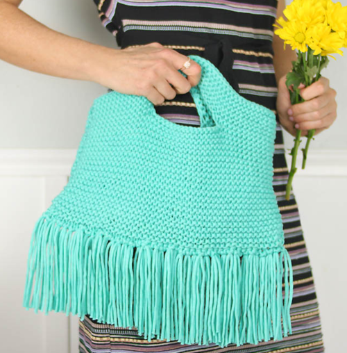Knit Purse with Fabulous Fringe