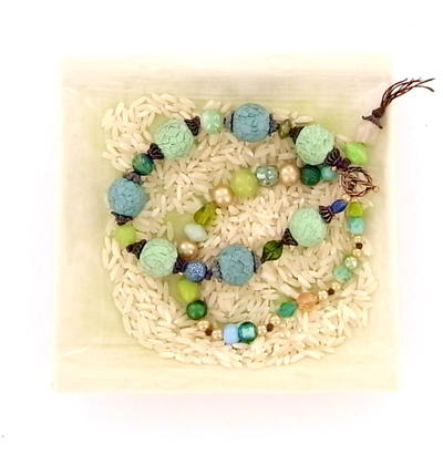 Rustic Sea Foam Faceted Bracelet
