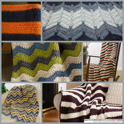 Crochet Afghan Patterns Stripes : 6 Striped Crochet Afghan Patterns for Men and Boys ...