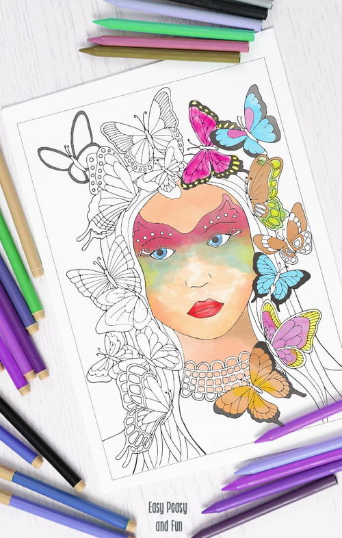Lady Butterfly Adult Coloring Page