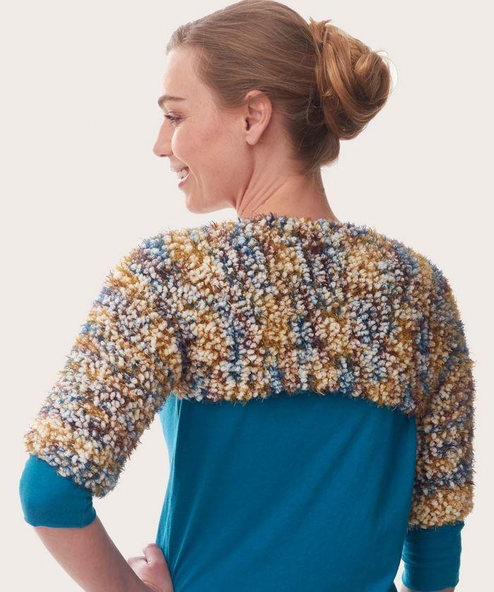 Knitting Pattern Cowl Shrug : Blissful Knit Shrug AllFreeKnitting.com