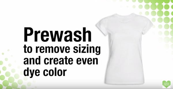 Prewash fabric to remove sizing and create even dye color.