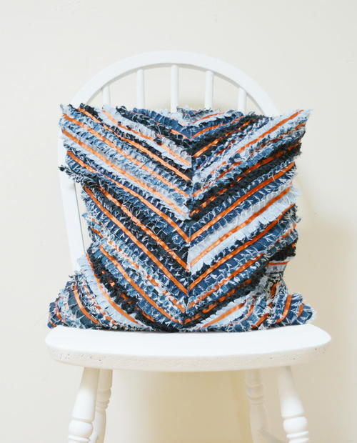 Denim Chevron DIY Cushion