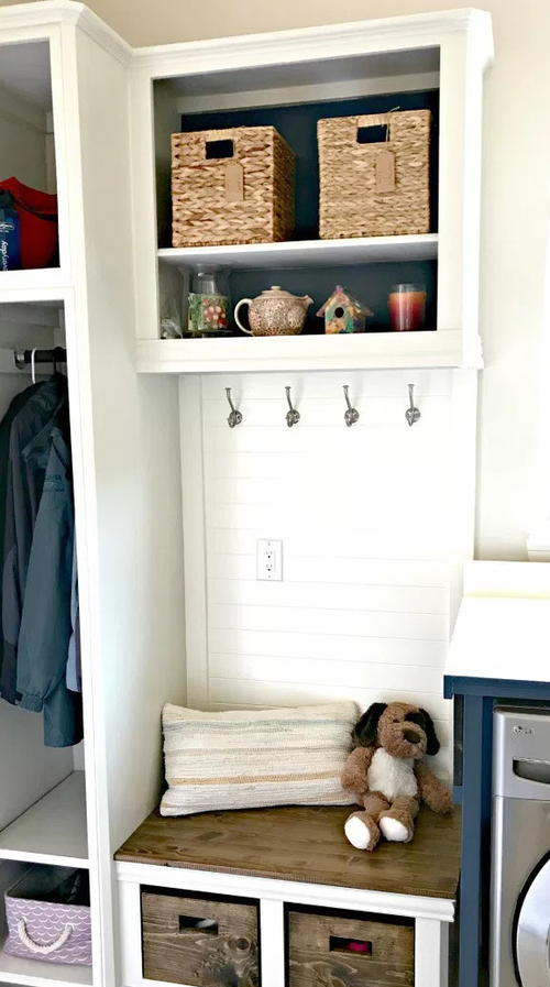 Upcycled DIY Laundry and Mudroom Combo