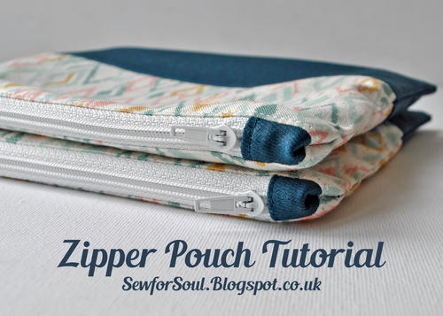 Zipper Pouch with Matching End Tabs and Contrast Panel