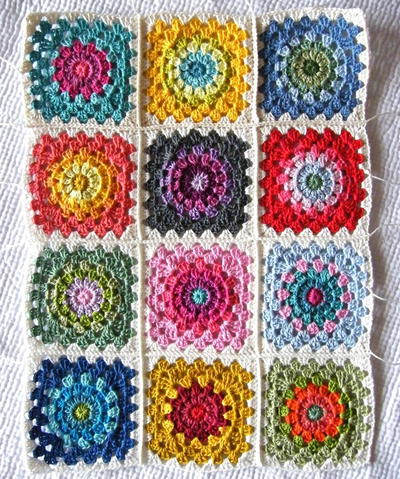 Color Wheel Crochet Granny Squares