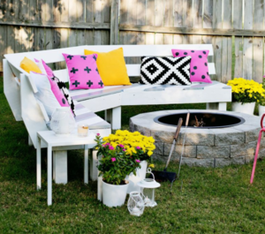Tremendous Curved Diy Fire Pit Bench Diyideacenter Com Bralicious Painted Fabric Chair Ideas Braliciousco