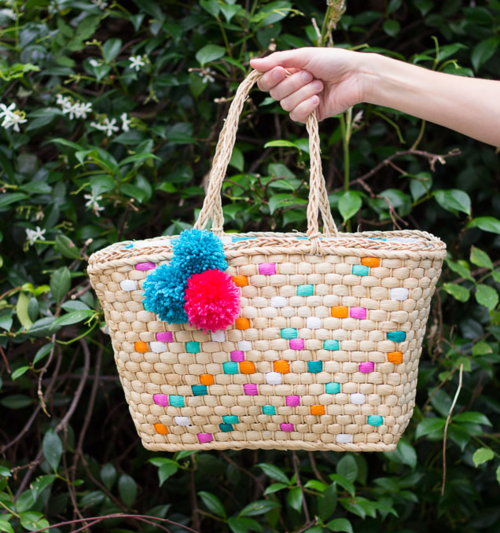 DIY Painted Straw Tote Bag