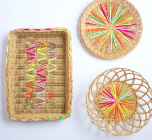 Colorful DIY Embroidered Yarn Baskets
