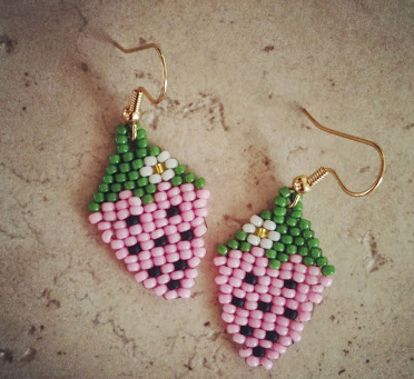 Beaded Strawberry DIY Earrings