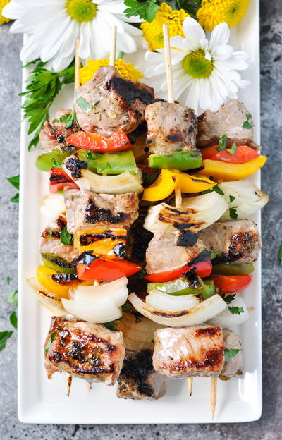 3-Ingredient Garlic & Herb Pork Tenderloin Kabobs