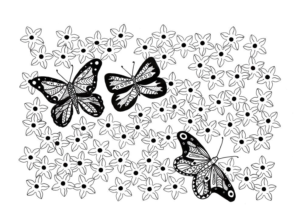 Butterfly Garden Adult Coloring Page Favecrafts Com