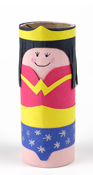 Cardboard Tube Wonder Woman DIY Superhero