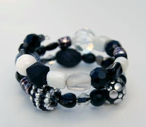 Black and White Beaded Bangle