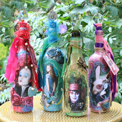 Utterly Mad Wonderland Glass Bottle Crafts