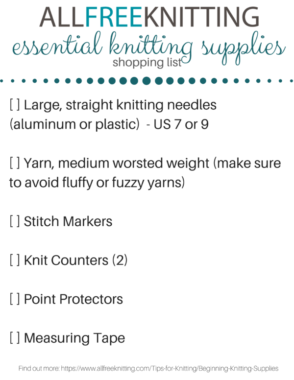 Printable Knitting Tools List (PDF)
