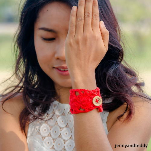Red Button Crochet Bracelet