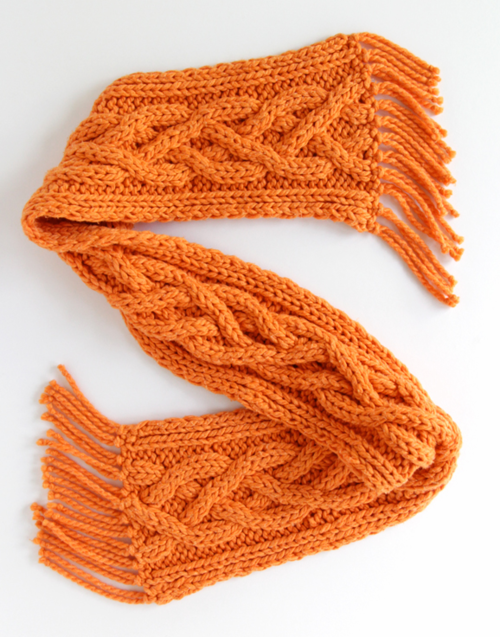 Quad Cable Knit Scarf Pattern