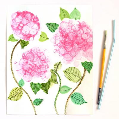 Bubble Paint Hydrangeas