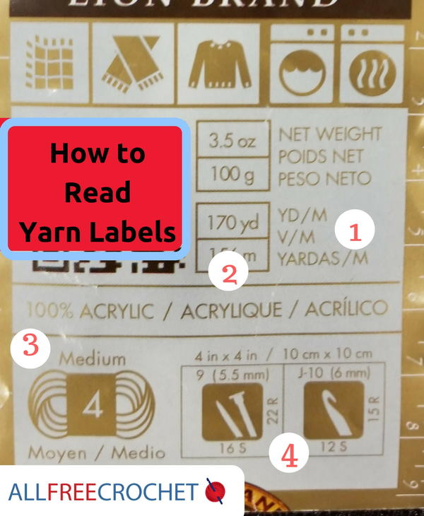 Image shows a yarn label with numbers from the page How to Read Crochet Yarn Labels.