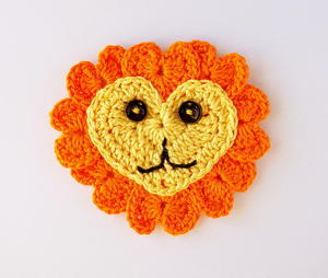 Crochet Heart Lion Appliqué
