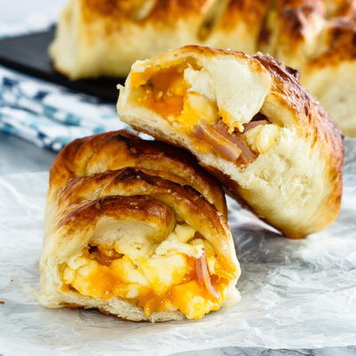 Ham, Egg and Cheese Pretzel Rolls